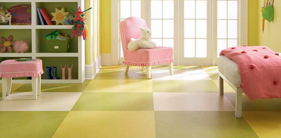 Colorful and Cheerful Marmoleum Linoleum Floor for a Resilient and easy to maintain Child's Room from Foster Flooring
