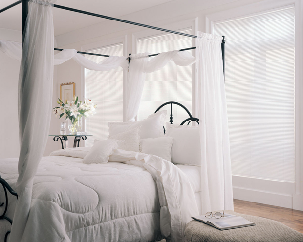 Hunter Douglas offers Lightlines Blinds in sophisticated bedroom-appropriate white Aluminum