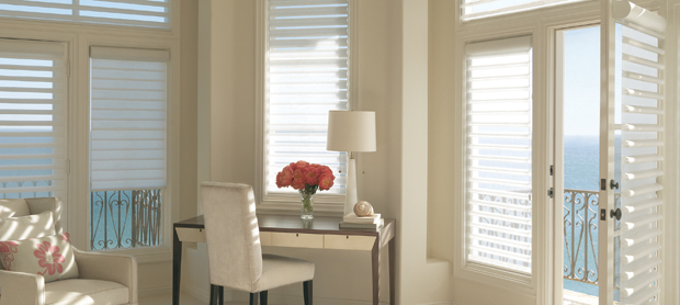 Hunter Douglas Pirouette Bamboo Flax style in Natural