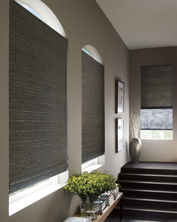 Hunter Douglas Provenance Woven Wood Shades in the earthy and natural Telluride style