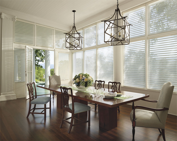 Hunter Douglas Silhouette Shadings in the Ethereal Style of Chateau in Soft White