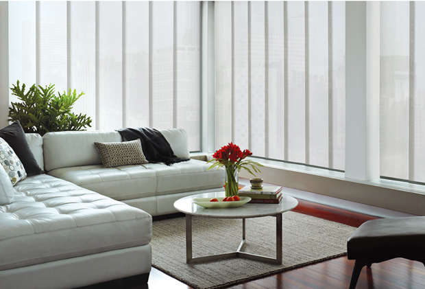 Hunter Douglas Skyline Catalina style in the color of Oyster Shell
