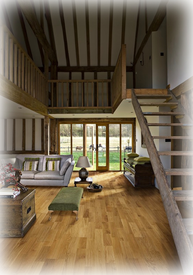Red oak flooring used in a rustic setting emanates warmth to the entire enviornment.